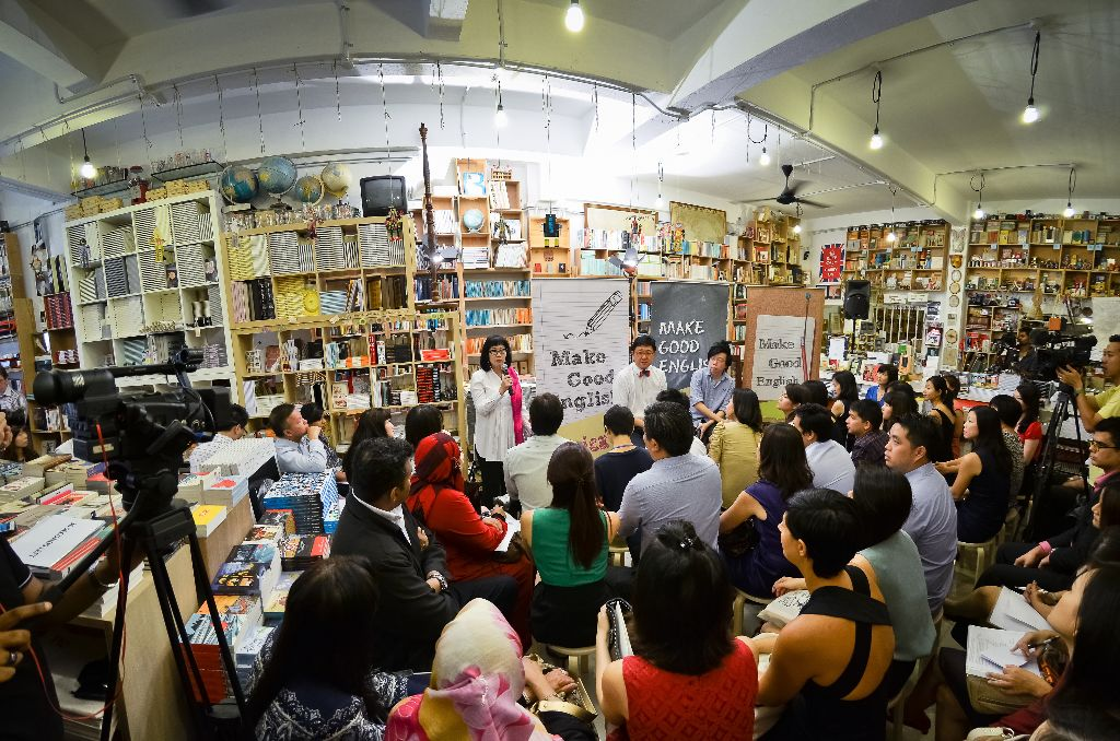 Attending the Speak Good English Movement media briefing on 19 September 2012 at Books Actually